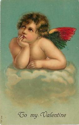 Valentine~Brown Eyed Cupid~Elbows on Clouds~Colorful Bird Wings~Emboss~Germany