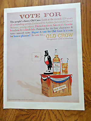 1965 Old Crow Whiskey Ad    Vote For The People's Choice