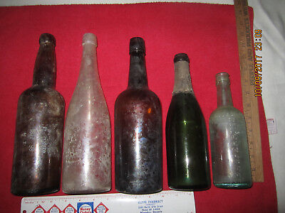 Lot Of 5 Perfect Military Fort Site Bottles ( Fort Custer, Montana )