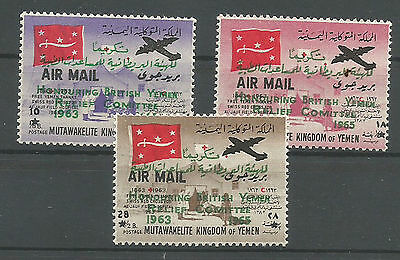 1964 Yemen  Kingdom Overprinted Air Mail Issue Set Of 3 Mnh** Lux
