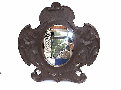 Late 19th Early 20th Century Hand Carved Oak Arts & Crafts Mirror