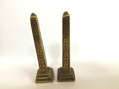 Antique Pair Of Grand Tour Souvenir  Miniature Egyptian Brass Obelisks