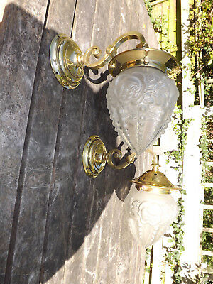 Pair Of Early 20th Cen Wall/Porch Lights With Blown Glass Frosted Pendant Shades