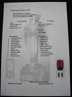 1957-58 European Champions Cup Final Real Madrid v A C Milan Matchsheet
