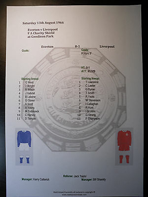 1966 FA Charity Shield Everton v Liverpool Matchsheet