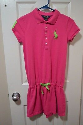 Girl's POLO RALPH LAUREN S/S Polo Dress, L (12-14), Solid Pink, 100% Cotton, GUC