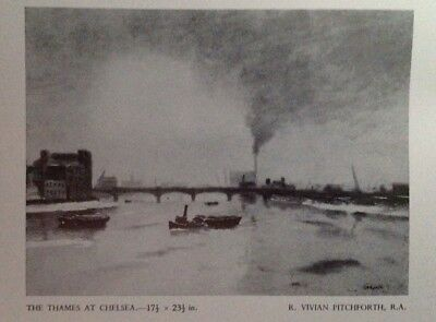 The Thames At Chelsea, 1957 Vintage Print/Illustration