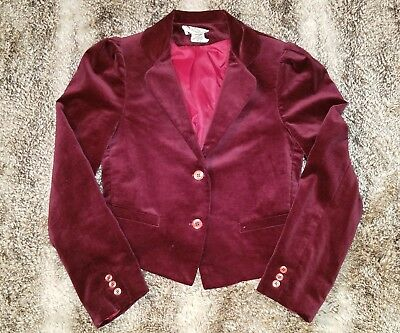 80s burgundy velvet cropped blazer 5/6 vtg 2 button oxblood red velour jacket XS