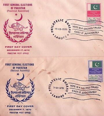 Pakistan Fdc 1970 & Stamps General Elections of Pakistan Flags