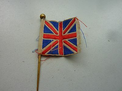 Ww1 Lovely Original Silk Union Jack Flag Pin 1 X 1 Inch