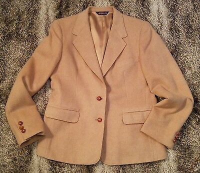 Vintage Camelhair blazer M/L womens 2 leather button preppy fall jacket 39 bust