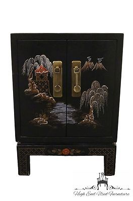 High End Asian Black Chinoiserie Cabinet Nightstand