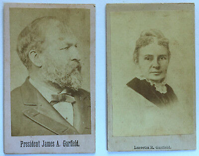 1880s ASSASSINATED PRESIDENT CIVIL WAR GENERAL & FIRST LADY GARFIELD CDV PAIR !