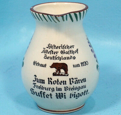 Antique German Advertise Ceramic Pottery Pitcher Zell Restaurant Floral
