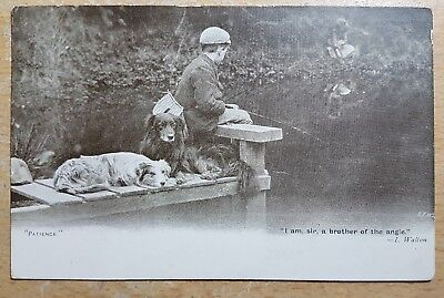 Postcard - Edwardian Vintage Boy Fishing with two Dogs (P170152)