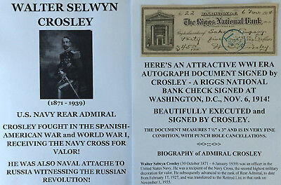 Spanish-American War/wwi Russian Revolution Navy Rear Admiral Document Signed Vg