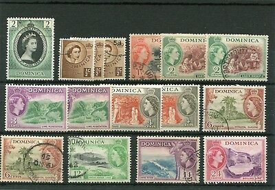 Dominica.16 -- 1954 Mm/used Stamps On Stockcard