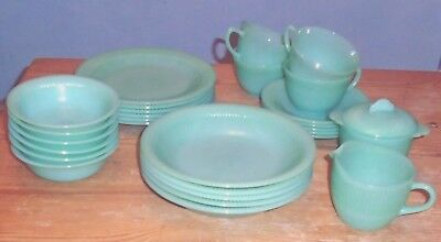 Fire King Jade Jadeite Green Glass Jane Ray(?) Collection