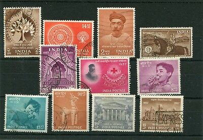 India.11 -- 1956/7 Good Used Stamps On Stockcard