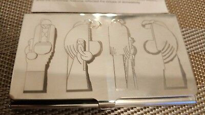 """Frank Lloyd Wright Silverplate Business Card Holder Etched """"Nakoma"""" Design"""