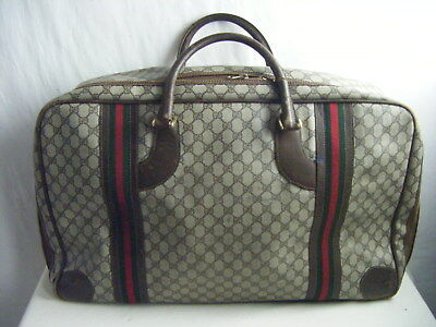 GUCCI Vtg 70s Brown Monogram Leather Hand Carry Weekender/Luggage-23 x 15.5-sz L