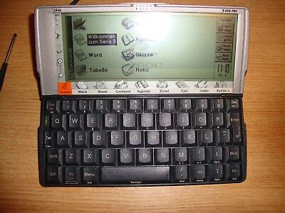 Rare PSION 5MX PRO PDA  24MB and stylus with GREMAN operating system