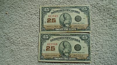 Pair of consecutive numbered 1923 25 cent shinplasters