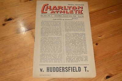 CHARLTON ATHLETIC v HUDDERSFIELD TOWN FOOTBALL PROGRAMME DIVISION ONE AUG 1948