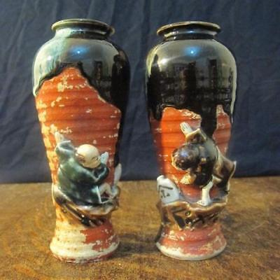 PAIR OF 19thC JAPANESE MEIJI PERIOD SUMIDA GAWA POTTERY FIGURAL VASES