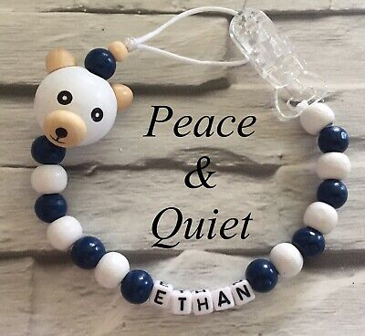 Personalised Dummy Clip💙Wooden💙Best Seller💙Dummy Chain💙Navy Blue💙teddy #PWP