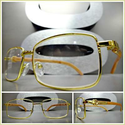 Mens CLASSY SOPHISTICATED Clear Lens EYE GLASSES Gold & Wood Wooden Effect Frame