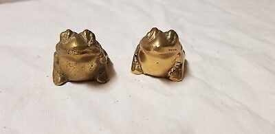 Pair of brass frog ornaments