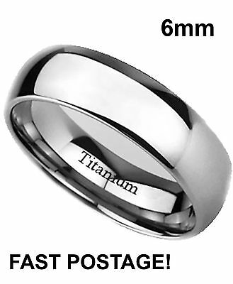 Mens 6mm Round titanium ring With Comfort Fit - Polished Finish - small sizes