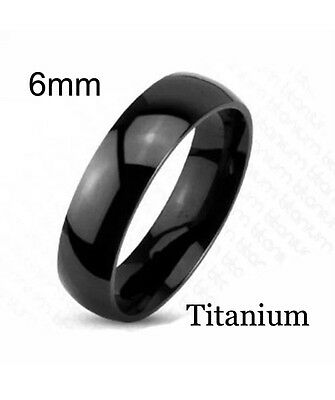 Mens 6mm black IP plated Round court shape titanium ring With Comfort Fit unisex