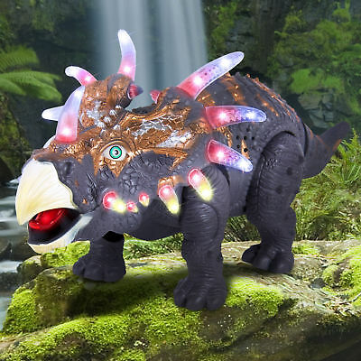 Walking Dinosaur Triceratops Toy Figure with Many Lights & Sounds, Real Movement