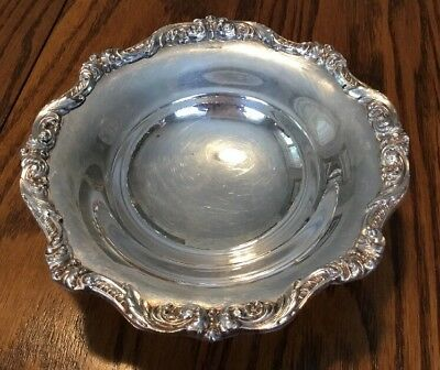 Poole Old English Silver Plate Small Footed Dish 5005 Ornate Edged And Feet