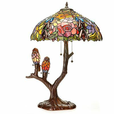 Table Lamp 4 Light Tiffany Style Stained Glass Birds Handcrafted Bronze Finish