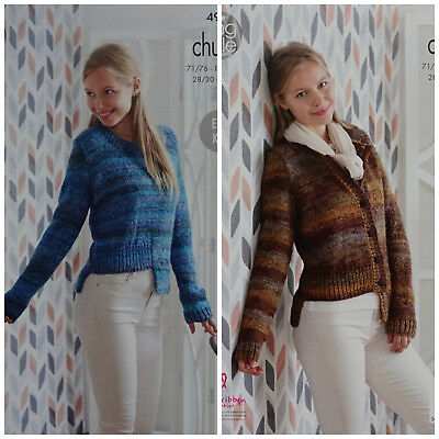 KNITTING PATTERN Ladies Easy Knit Cardigan & Jumper Stepped Hem Chunky 4992
