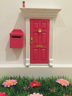 Hot Pink Wooden Fairy Door with Fairy Dust And Magic Key