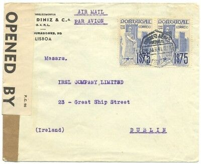 Portugal 1941 air mail cover, Lisbon to Dublin, Ireland, censored