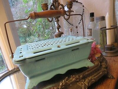FABULOUS ANTIQUE FRENCH DUCK EGG ENAMEL CARRIAGE OR SLEIGH HEATER  ~ E.1900's