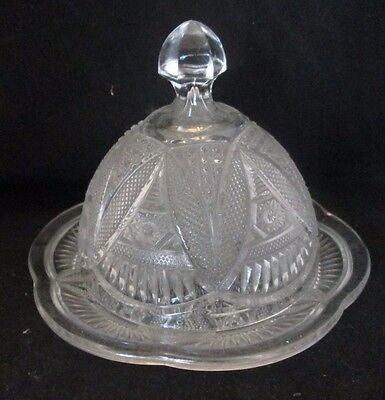 Vintage Clear Cut Crystal Glass Round Butter Dish with Dome Lid