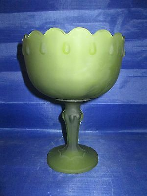 Indiana Glass Garland Teardrop Compote Flashed Green Avacado