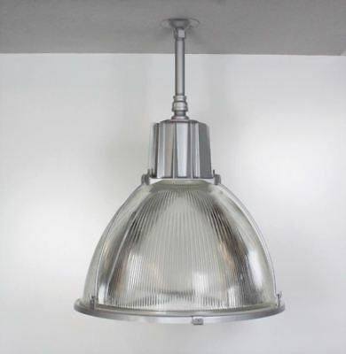 """Industrial Light Fixtures Salvaged 22"""" Holophane Style Glass"""