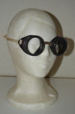 Vintage Safety Eyeglasses Motorcycle Goggles Clear Glass Lenses Steampunk Rare
