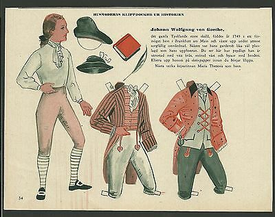 Johann Wolfgang von Goethe 1953 Vintage Swedish Paper Doll German Writer