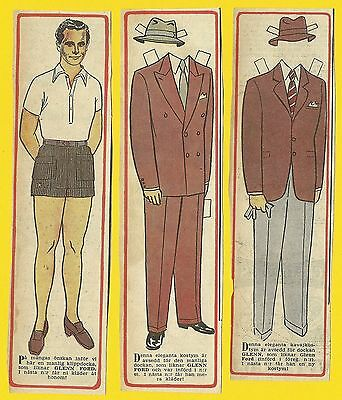 Glenn Ford Rare Vintage 1950s Movie Film Star Paper Doll Sweden