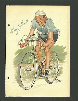 Harry Snell Cycling Skier Vintage 1950 Swedish Sports Print Photo Card A