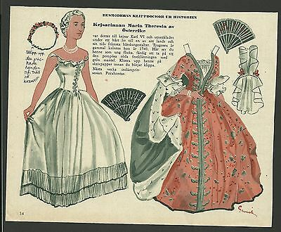 Maria Teresia Osterrike 1953 Vintage Swedish Paper Doll daughter of Charles VI