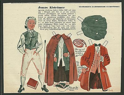 Jonas Alstromer 1953 Vintage Swedish Paper Doll Royal Swedish Academy of Science
